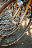 Row of parked vintage bicycles bikes for rent on Stock Image