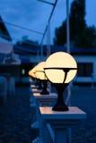 Row of Patio Lights Illuminating Soft Light Stock Image