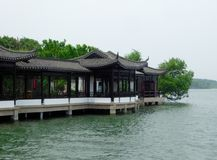 A row pavilion near a lake Royalty Free Stock Photos