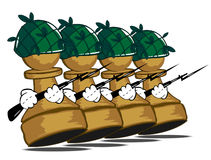 Row of pawns. Vector illustration of the row of pawns Royalty Free Stock Photos