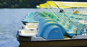 Row of pedal boats Royalty Free Stock Images