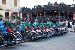 Row of pedicab at hoi an Stock Images