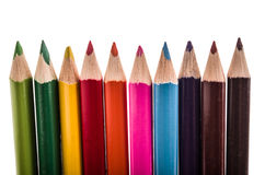 Row of pencil colors on a white backgroiund Stock Photography