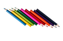Row of pencil colors on a white backgroiund. Pencil colors on a white backgroiund stock images