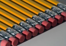 Row of Pencils. Several pencils lined in a row stock photography