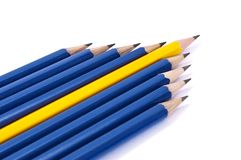 Row of pencils in form of arrow Royalty Free Stock Image