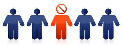 Row of people with do not sign illustration Royalty Free Stock Images