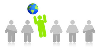 Row of people jumping to the earth Royalty Free Stock Image