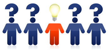 Row of people with questions and ideas Stock Image