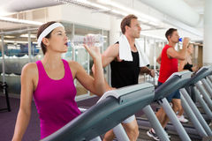 Row of people working out on treadmills Stock Image
