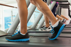 Row of people working out on treadmills Stock Photography