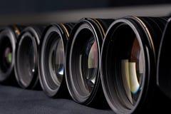 Row of photo lenses Royalty Free Stock Image