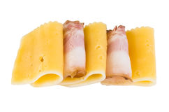 Row of piece bacon and cheese Stock Photo