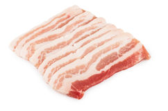 Row pieces of raw bacon isolated on white Royalty Free Stock Image