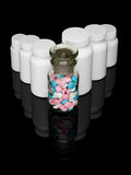 Row of pill bottles. Stock Images