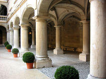 Row of Pillars. Row of stone pillars in Geneva, Switzerland royalty free stock photos