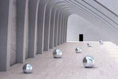 Row of pillars with chrome balls Stock Photos