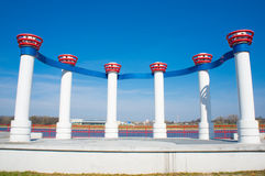 Row of pillars. By the Malta lake in Poznan, Poland Royalty Free Stock Photo