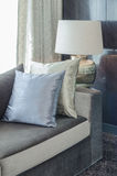 Row of pillows on modern sofa in living room Royalty Free Stock Photos
