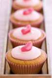Row of pink cupcakes Royalty Free Stock Images