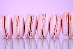 Row of pink macaron cookies Royalty Free Stock Image
