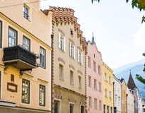 Colorful houses in Bressanone Brixen, Italy stock images