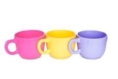 Row-plastic-cups Stock Photos