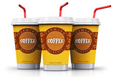 Row of plastic or paper coffee cups with straws Stock Photos