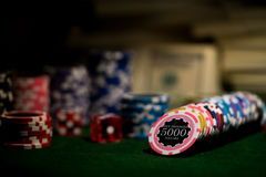 Row of poker chips Royalty Free Stock Images