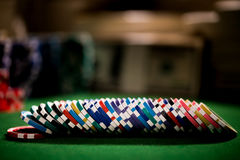 Row of poker chips Stock Photography