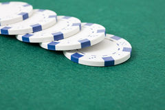 Row of poker chips Royalty Free Stock Photography