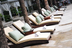 Row of pool chairs at a resort Stock Photography