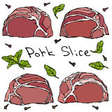 Row Pork Steak Slices and Herbs. Realistic Vector Illustration Isolated Hand Drawn Doodle or Cartoon Style Sketch. Fresh Stock Image