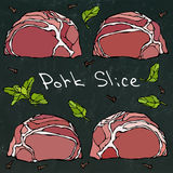 Row Pork Steak Slices and Herbs. Vector Illustration Isolated on a Black Chalkboard Background. Realistic Hand Drawn Stock Photos