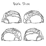 Row Pork Steak Slices Set. Realistic Vector Illustration Isolated Hand Drawn Doodle or Cartoon Style Sketch. Fresh Meat Stock Photo