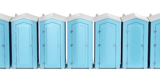 Portable plastic toilets on white. Row with portable plastic toilets on white background, front view Stock Photography
