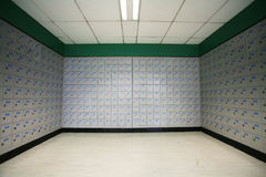 A row of post office boxes in a  post office. Stock Images