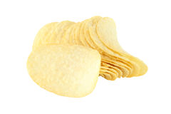Row of potato chip and single Stock Images