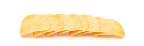 Row of potato chips. Royalty Free Stock Photo