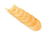 Row potato chips. Royalty Free Stock Image