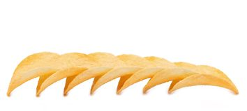 Row of potato chips Royalty Free Stock Image