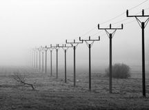 Row of Power Line Pylons in Mystery Fog Stock Photos