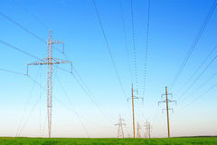 Row of power lines Royalty Free Stock Photography