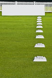 Row of Practice Balls, Blank Signage Boards. Row of golfers' practice balls, set up before the start of play Royalty Free Stock Image