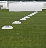 Row of Practice Balls, Blank Signage Boards. Row of practice balls, set up, at the ready on the practice tee, before the start of play Royalty Free Stock Image