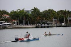 Row practice Miami Beach Stock Image