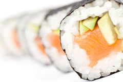 Row of prepared maki rolls Stock Images
