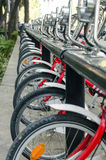 Row of Public Bicycles Royalty Free Stock Photography