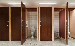 Row of public toilets Royalty Free Stock Image