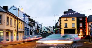 Row of pubs and bars in the city of Ballycastle, Causeway coast in Northern Ireland, UK stock video footage